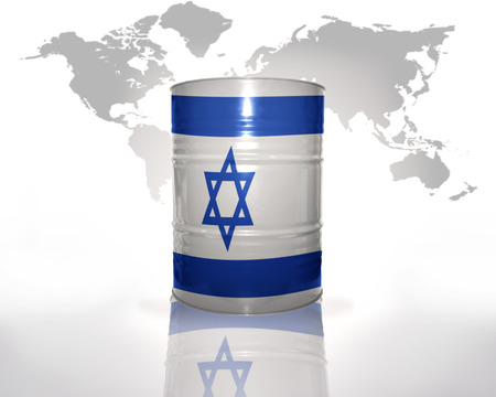 barrel with israeli flag on the world map background