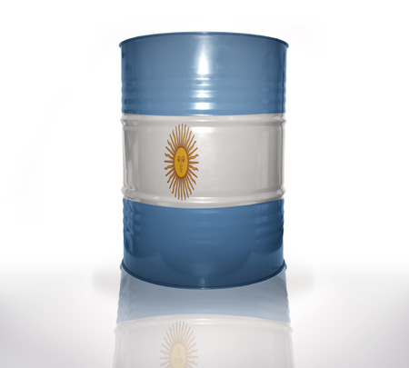 argentinean: barrel with argentinean flag on the white background Stock Photo