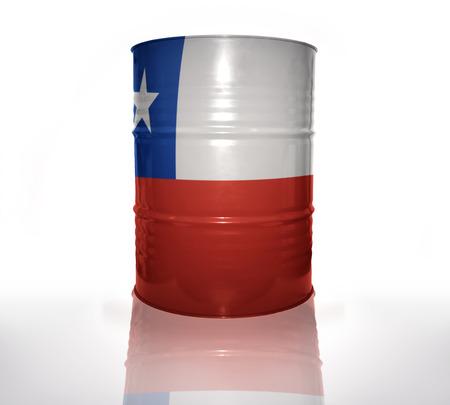bandera chilena: barril con bandera chilena en el fondo blanco Foto de archivo