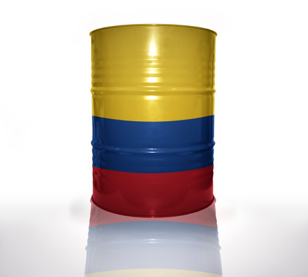 colombian flag: barrel with colombian flag on the white background