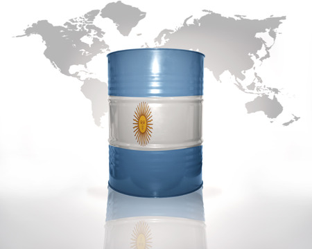 argentinean: barrel with argentinean flag on the world map background Stock Photo
