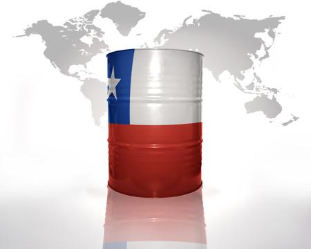 bandera chilena: barril con bandera chilena en el mapa del mundo de fondo
