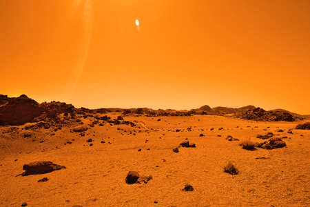 Deserted terrestial planet in orange colors Stock Photo