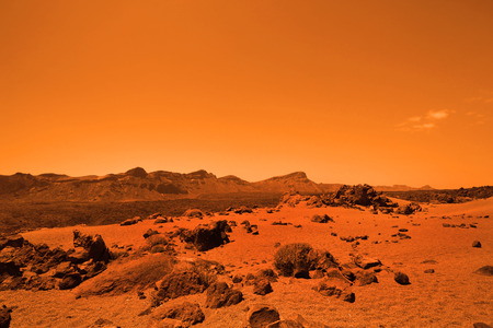 Deserted terrestial planet in orange colors Stock Photo