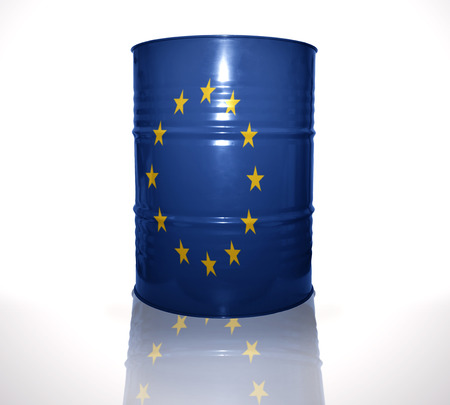 heavy fuel: barrel with european union flag on the white background