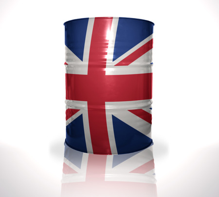 heavy fuel: barrel with british flag on the white background