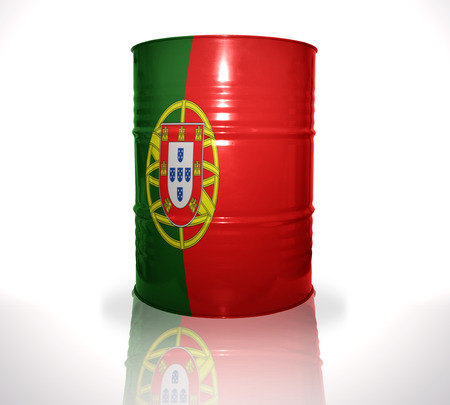 fuel provider: barrel with portuguese flag on the white background Stock Photo
