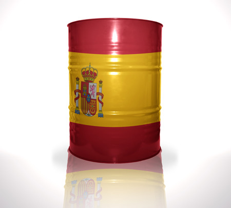 heavy fuel: barrel with spanish flag on the white background