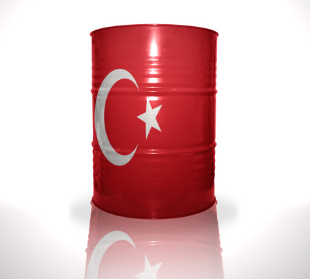 heavy fuel: barrel with turkish flag on the white background Stock Photo