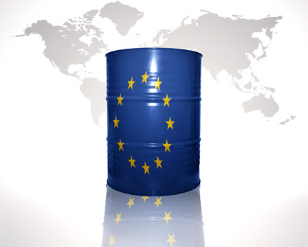 fuel provider: barrel with european union flag on the world map background