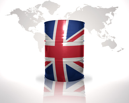 fuel provider: barrel with british flag on the world map background