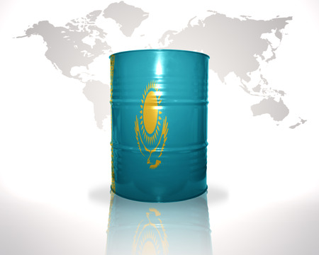 fuel provider: barrel with kazakhstan flag on the world map background