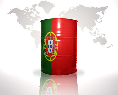 fuel provider: barrel with portuguese flag on the world map background