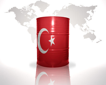 fuel provider: barrel with turkish flag on the world map background Stock Photo