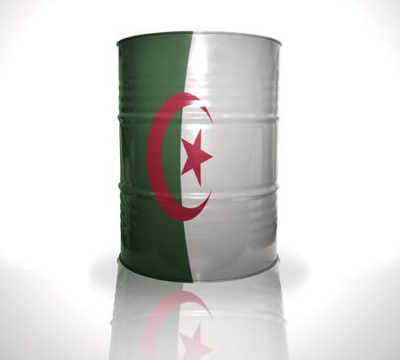 algerian flag: barrel with algerian flag on the white background Stock Photo
