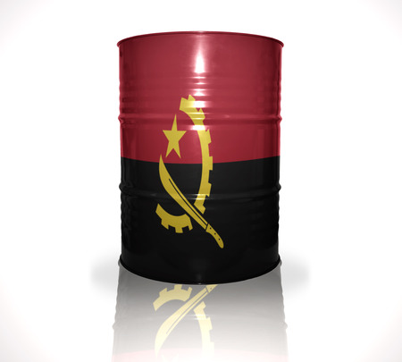 heavy fuel: barrel with angolan flag on the white background