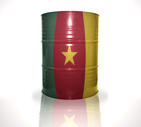 fuel provider: barrel with cameroon flag on the white background Stock Photo