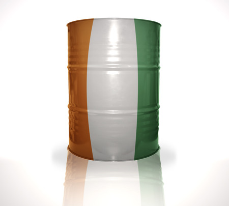 heavy fuel: barrel with cote divoire flag on the white background Stock Photo
