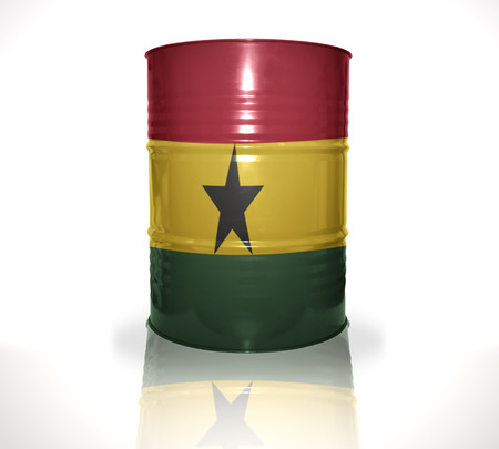fuel provider: barrel with ghanaian flag on the white background Stock Photo