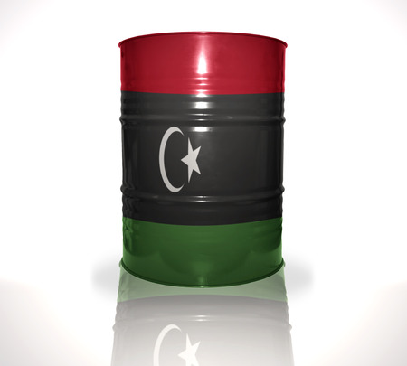 libyan: barrel with libyan flag on the white background