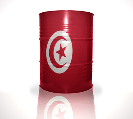 heavy fuel: barrel with tunisian flag on the white background Stock Photo