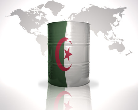 fuel provider: barrel with algerian flag on the world map background Stock Photo