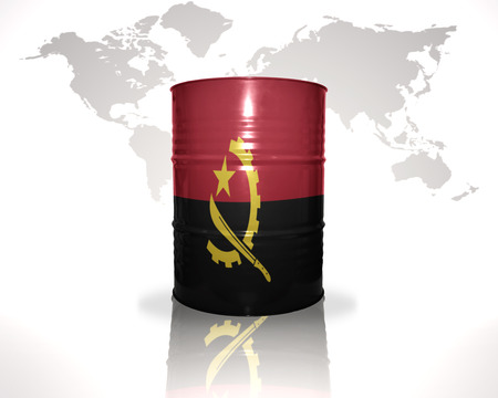 fuel provider: barrel with angolan flag on the world map background