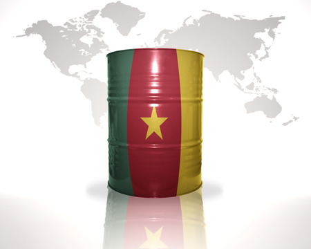 fuel provider: barrel with cameroon flag on the world map background