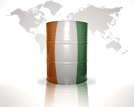 fuel provider: barrel with cote divoire flag on the world map background
