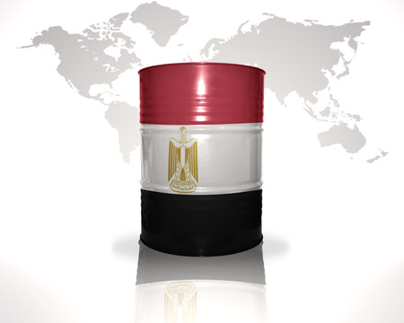 heavy fuel: barrel with egyptian flag on the world map background