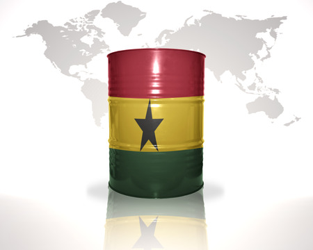 fuel provider: barrel with ghanaian flag on the world map background