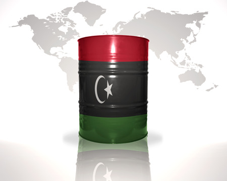 libyan: barrel with libyan flag on the world map background