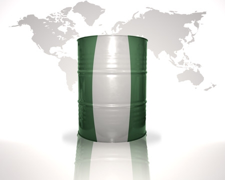 heavy fuel: barrel with nigerian flag on the world map background
