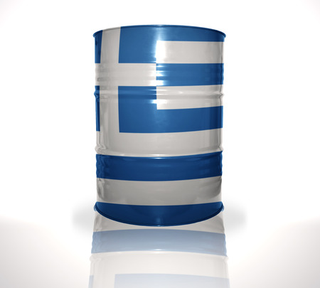 fuel provider: barrel with greek flag on the white background