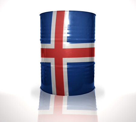 heavy fuel: barrel with icelandic flag on the white background Stock Photo