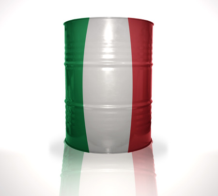 fuel provider: barrel with italian flag on the white background