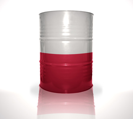 heavy fuel: barrel with polish flag on the white background