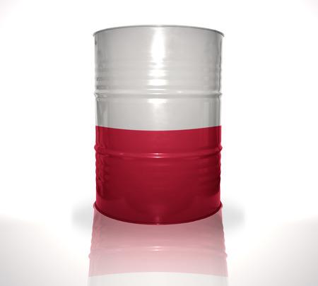 bandera de polonia: barril con bandera polaca en el fondo blanco