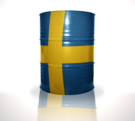 fuel provider: barrel with swedish flag on the white background