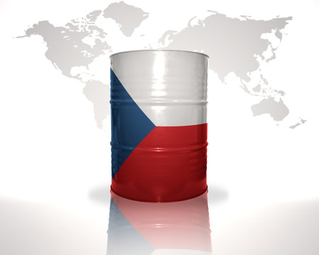 heavy fuel: barrel with czech flag on the world map background