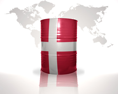 heavy fuel: barrel with danish flag on the world map background Stock Photo