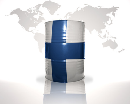 fuel provider: barrel with finnish flag on the world map background Stock Photo