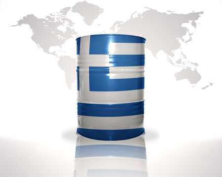 fuel provider: barrel with greek flag on the world map background Stock Photo