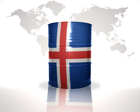 fuel provider: barrel with icelandic flag on the world map background