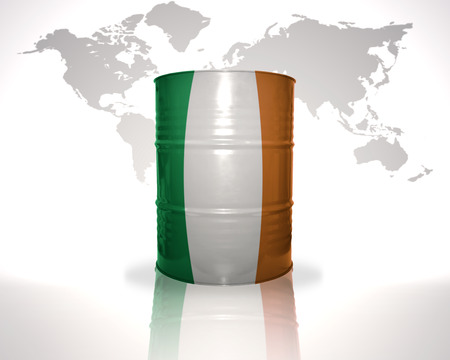 heavy fuel: barrel with irish flag on the world map background