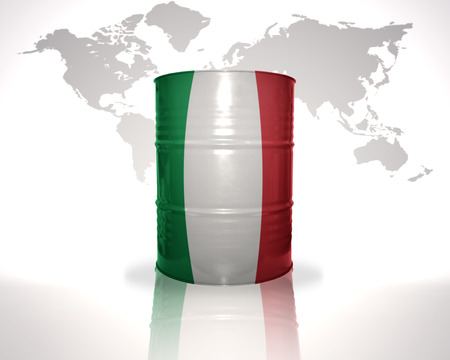heavy fuel: barrel with italian flag on the world map background