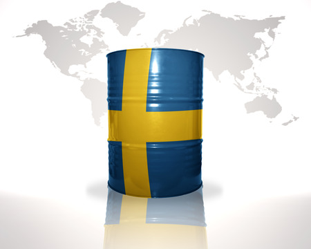 fuel provider: barrel with swedish flag on the world map background