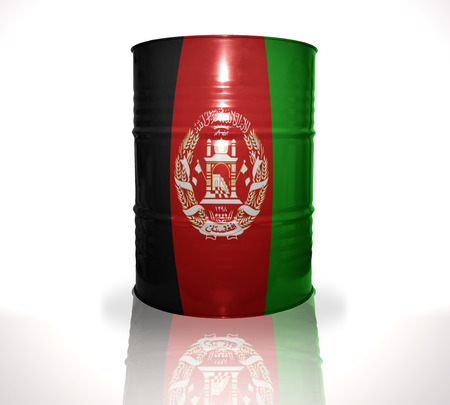 fuel provider: barrel with afghan flag on the white background