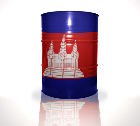 heavy fuel: barrel with cambodian flag on the white background Stock Photo
