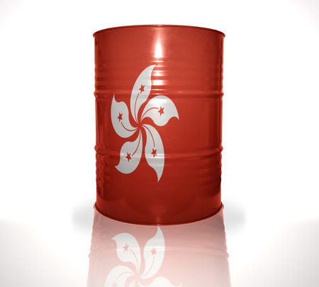 fuel provider: barrel with hong kong flag on the white background Stock Photo